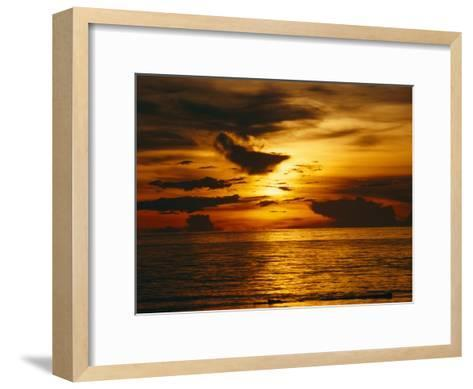 Sunset over Pacific Ocean, Yap Islands, Caroline Islands, Micronesia-Joe Stancampiano-Framed Art Print