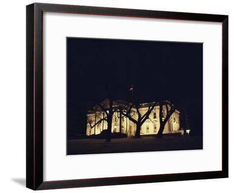 A Night View of the White House Decorated for the Holidays-Medford Taylor-Framed Art Print
