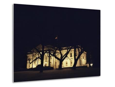 A Night View of the White House Decorated for the Holidays-Medford Taylor-Metal Print