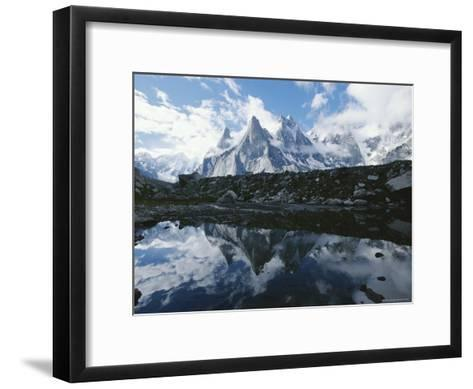 A View of the Fathi and Other Peaks Reflected in a Pond-Jimmy Chin-Framed Art Print