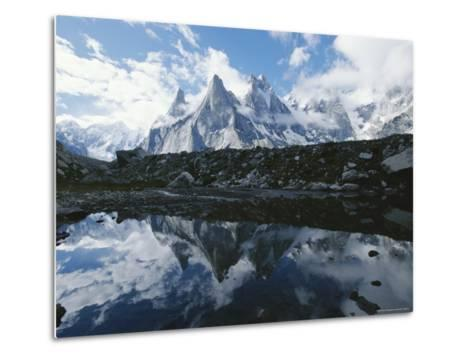 A View of the Fathi and Other Peaks Reflected in a Pond-Jimmy Chin-Metal Print