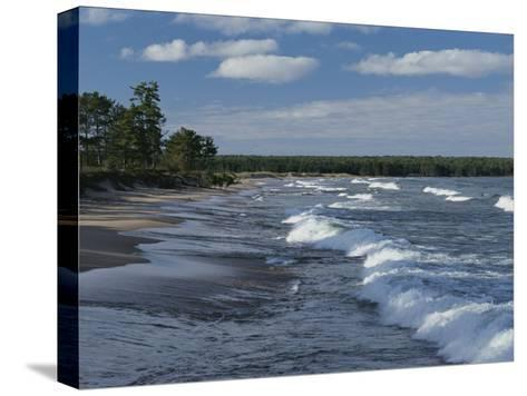 The Surf Breaks on a Beach in the Apostle Islands-Raymond Gehman-Stretched Canvas Print