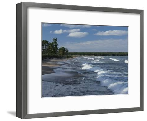 The Surf Breaks on a Beach in the Apostle Islands-Raymond Gehman-Framed Art Print