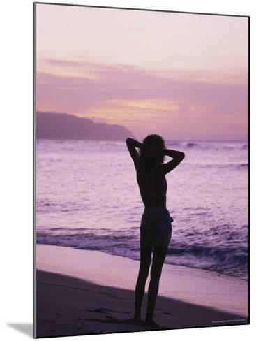 Woman Standing on Beach in Silhouette-Bill Romerhaus-Mounted Photographic Print