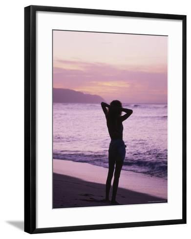 Woman Standing on Beach in Silhouette-Bill Romerhaus-Framed Art Print