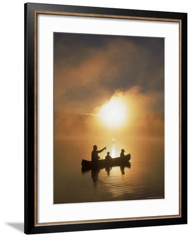 People Fishing from Canoe at Sunset-Bob Winsett-Framed Art Print