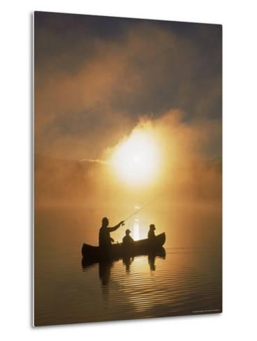 People Fishing from Canoe at Sunset-Bob Winsett-Metal Print