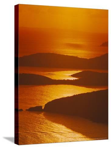 Sun Setting Over Harbor, St. Thomas, VI-Jim Schwabel-Stretched Canvas Print