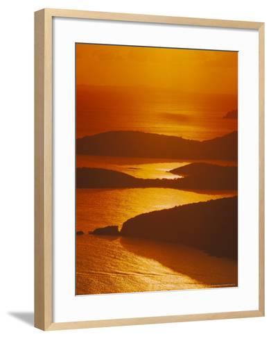 Sun Setting Over Harbor, St. Thomas, VI-Jim Schwabel-Framed Art Print