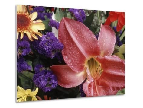 Flowers Sprinkled with Dew-Mitch Diamond-Metal Print