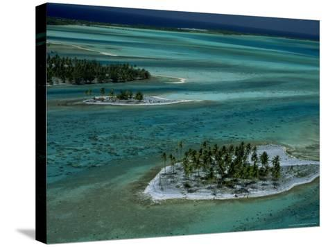Sandbars with Palm Trees, Bora Bora-Mitch Diamond-Stretched Canvas Print