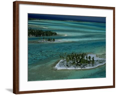 Sandbars with Palm Trees, Bora Bora-Mitch Diamond-Framed Art Print