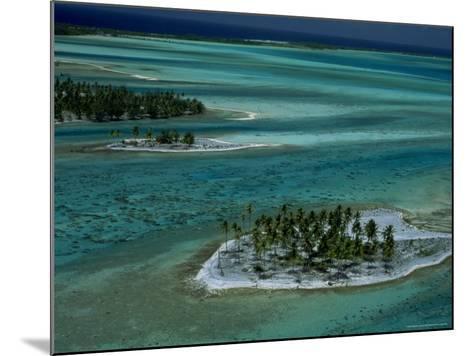 Sandbars with Palm Trees, Bora Bora-Mitch Diamond-Mounted Photographic Print