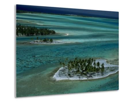 Sandbars with Palm Trees, Bora Bora-Mitch Diamond-Metal Print
