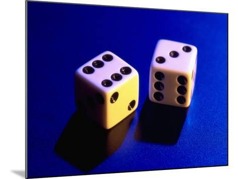 Two Dice on Blue Background-Jim McGuire-Mounted Photographic Print