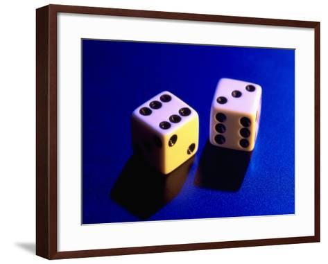 Two Dice on Blue Background-Jim McGuire-Framed Art Print