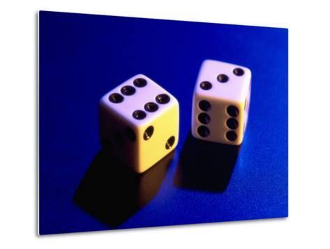Two Dice on Blue Background-Jim McGuire-Metal Print