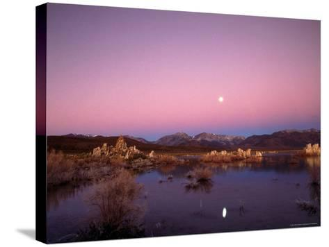 Moon Over Sierra Mountain Range, CA-Kyle Krause-Stretched Canvas Print