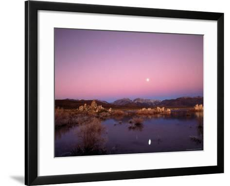 Moon Over Sierra Mountain Range, CA-Kyle Krause-Framed Art Print