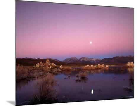 Moon Over Sierra Mountain Range, CA-Kyle Krause-Mounted Photographic Print