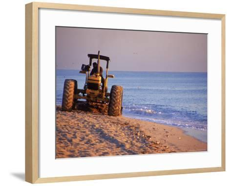 Tractor Plowing Beach, Miami Beach, FL-Jeff Greenberg-Framed Art Print