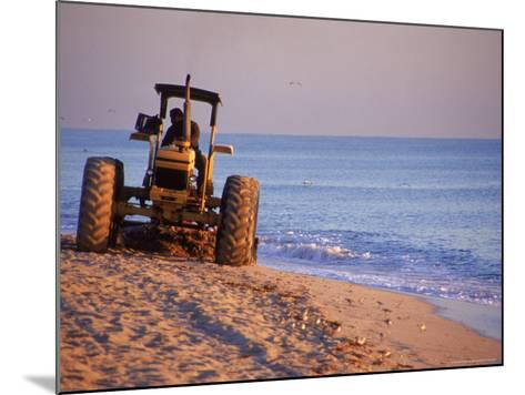 Tractor Plowing Beach, Miami Beach, FL-Jeff Greenberg-Mounted Photographic Print