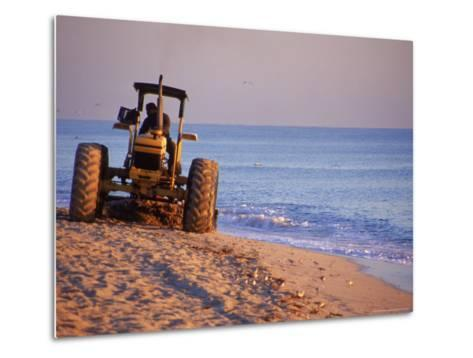 Tractor Plowing Beach, Miami Beach, FL-Jeff Greenberg-Metal Print