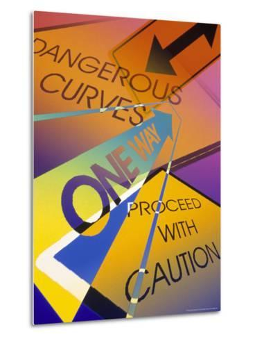 Assorted Caution Signs-Carol & Mike Werner-Metal Print