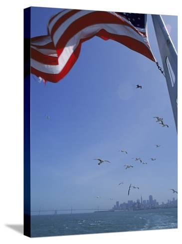 American Flag Flying on Ship, San Francisco, CA-Karen Schulman-Stretched Canvas Print