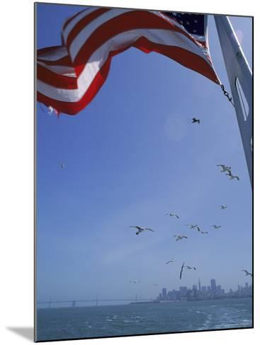 American Flag Flying on Ship, San Francisco, CA-Karen Schulman-Mounted Photographic Print