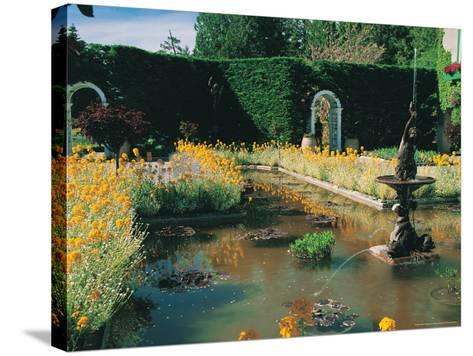 Fountain and Pond, Butchart Gardens, Canada-Francie Manning-Stretched Canvas Print
