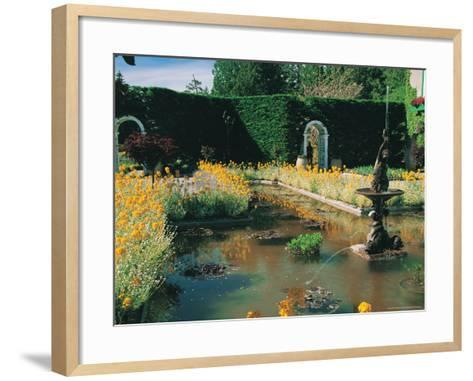 Fountain and Pond, Butchart Gardens, Canada-Francie Manning-Framed Art Print
