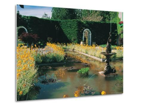 Fountain and Pond, Butchart Gardens, Canada-Francie Manning-Metal Print