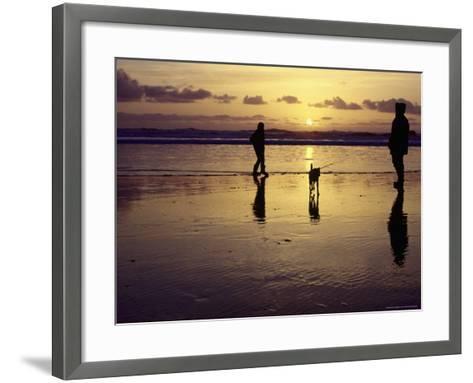 Family with Dog at Sunset, Cape Sebastian, OR-Jim Corwin-Framed Art Print