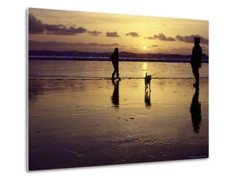 Family with Dog at Sunset, Cape Sebastian, OR-Jim Corwin-Metal Print
