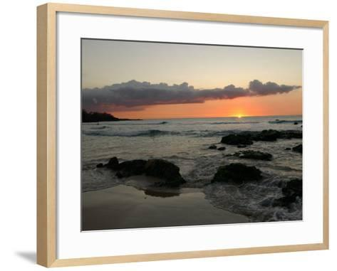 Big Island of Hawaii - Sunset from Beach-Keith Levit-Framed Art Print