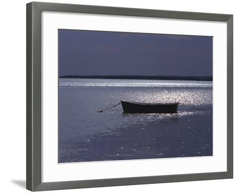 Moored Boat in the Moonlight, Nova Scotia-Keith Levit-Framed Art Print