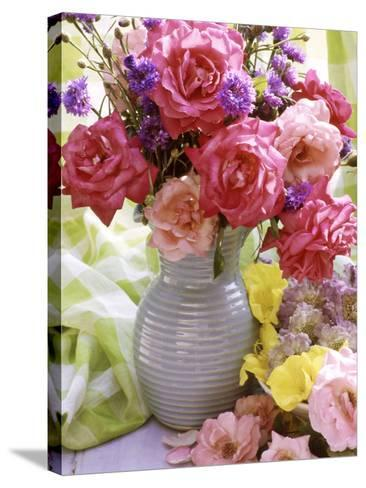 Rosa (Mixed) & Centaurea in Blue Jug-Lynne Brotchie-Stretched Canvas Print