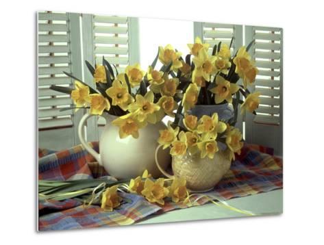 Spring Flower Arrangement of Narcissus in Jugs, Checked Cloth-Erika Craddock-Metal Print