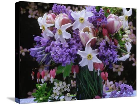 Daffodil, Tulip, Bluebells, and Bleeding Heart in Glass Vase-James Guilliam-Stretched Canvas Print