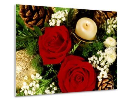 Christmas Arrangement of Two Red Roses with White Chrysanthemum-James Guilliam-Metal Print