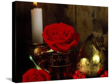 Lit White Candle in Gold Holder with Two Red Roses, Ilex Berries & Gold Pear Christmas Ornament-James Guilliam-Stretched Canvas Print