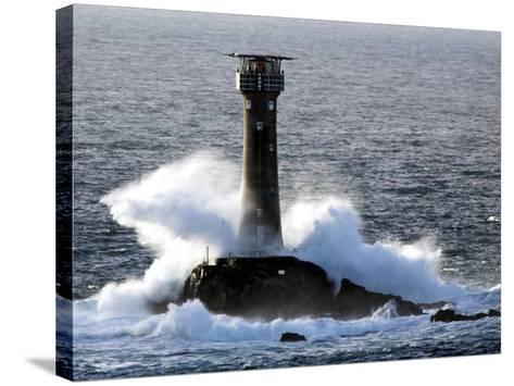 Longships Lighthouse in Huge Swells at Lands End, UK-David Clapp-Stretched Canvas Print