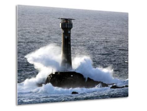 Longships Lighthouse in Huge Swells at Lands End, UK-David Clapp-Metal Print
