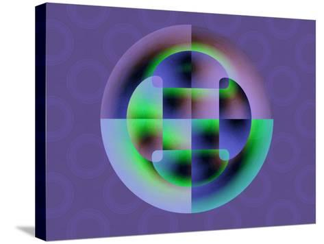 Abstract Green and Blue Fractal Pattern on Purple Background-Albert Klein-Stretched Canvas Print