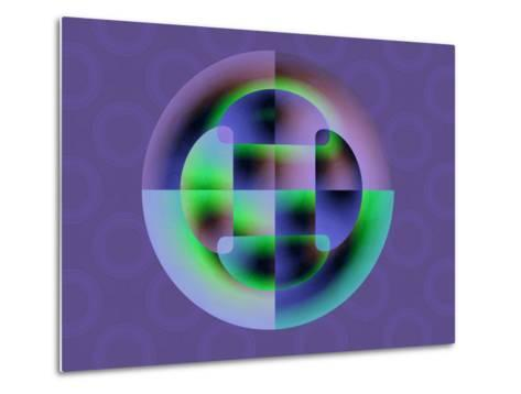 Abstract Green and Blue Fractal Pattern on Purple Background-Albert Klein-Metal Print