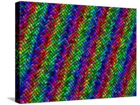 Multi-Coloured and Three-Dimentional Striped Fractal Design-Albert Klein-Stretched Canvas Print