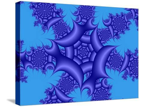 Abstract Blue Fractal Patterns on Sky Blue Background-Albert Klein-Stretched Canvas Print