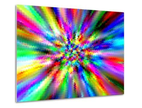 Abstract Multi-Coloured Background with Smeared Paint Effect-Albert Klein-Metal Print