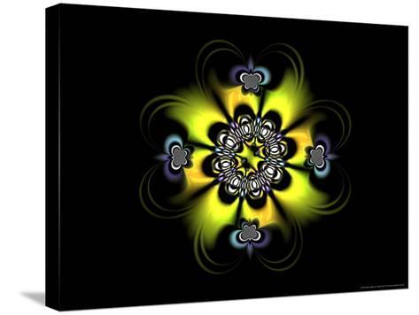 Abstract Yellow Flower-Like Fractal Design on Dark Background-Albert Klein-Stretched Canvas Print